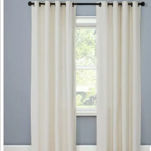 Two Natural Solid Light filtering Curtain Panels